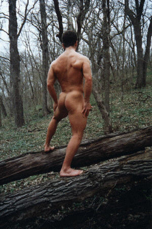 Muscular Stud Shows His Naked Butt Outside